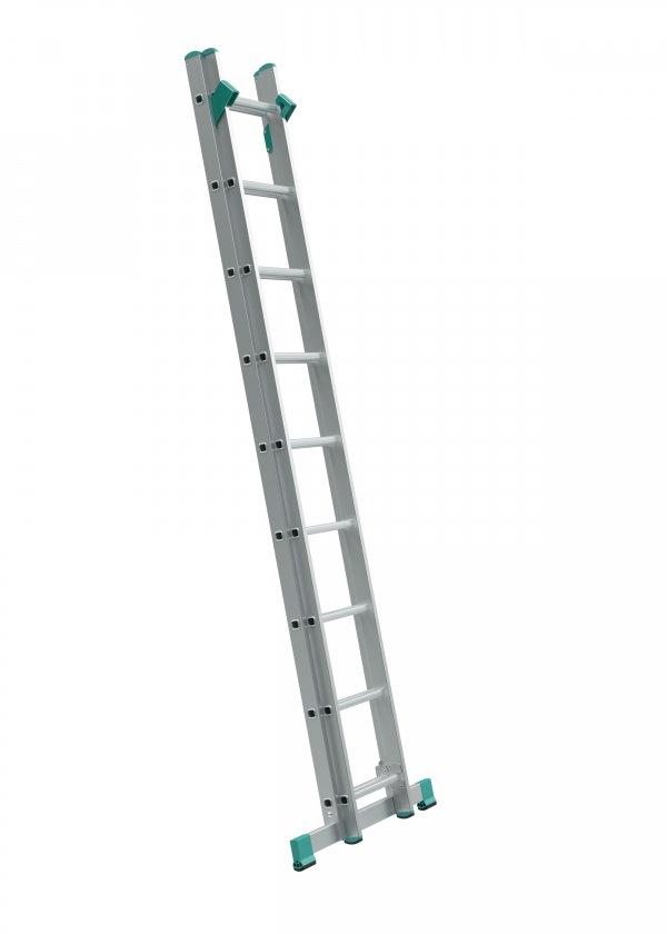 7709 - žebřík dvoudílný univerzální s úpravou na schody 2 x 9 příček