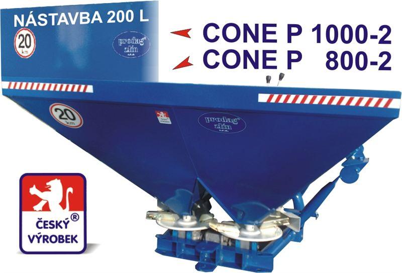 Dvoukotoučové rozmetadlo PRODAG CONE P 800-2 + kardan ( plechová násypka )