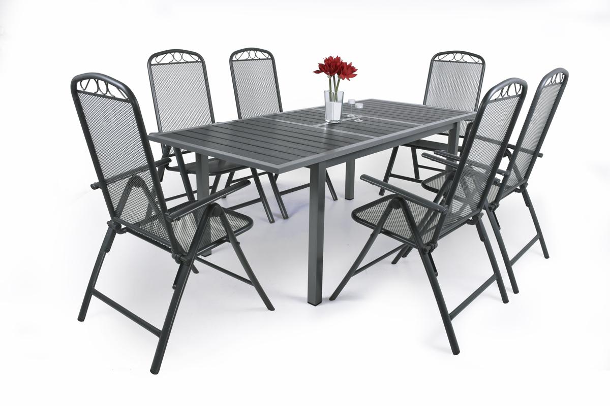 Garland Nice 6+ - sestava nábytku (1x rozkl. stůl Marlon + 6x pol. křeslo Klasik 7-POS)