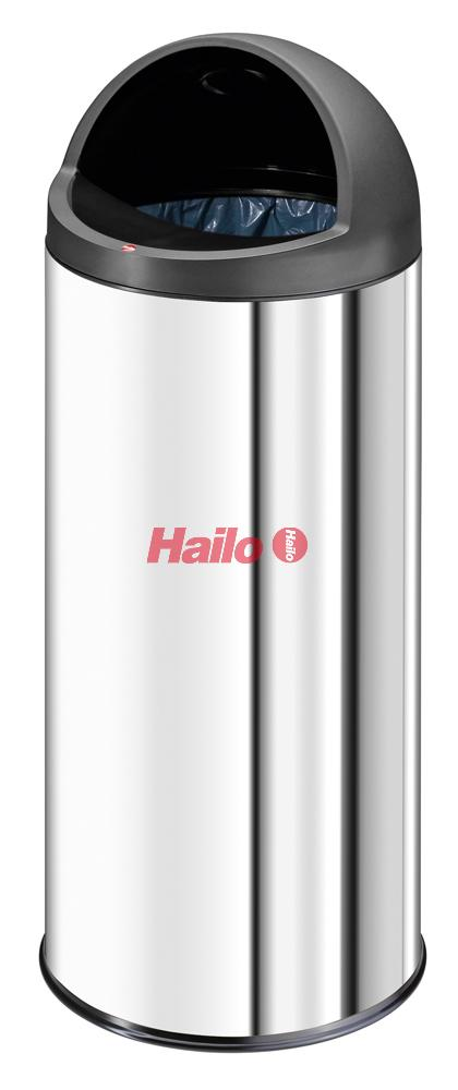 Hailo BigBin Cap XL nerez - velkoobjemový koš s otevřeným víkem pro vhod odpadu