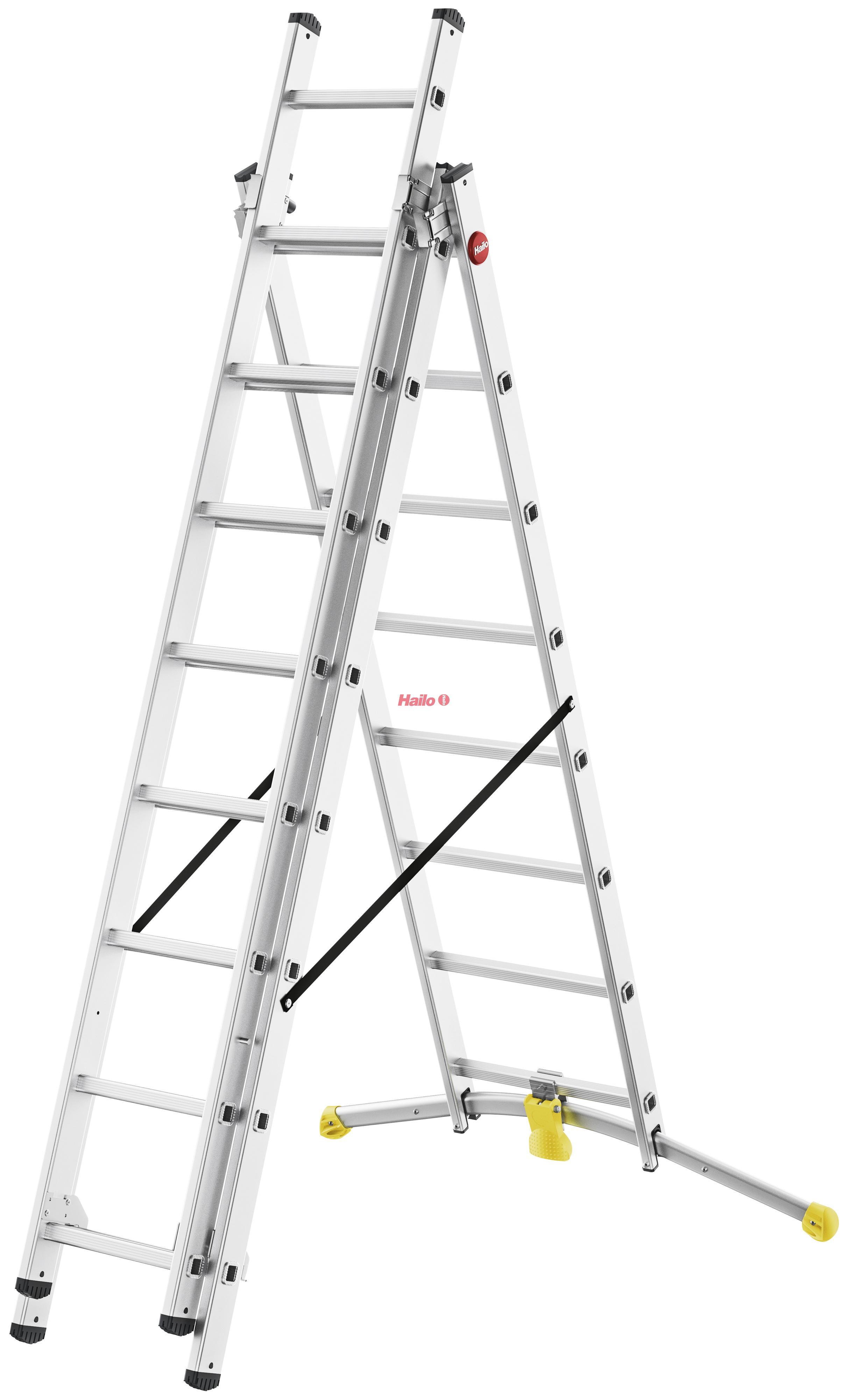 Hailo HobbyLOT 2x8 + 1x9 příček - trojdílný hliníkový žebřík