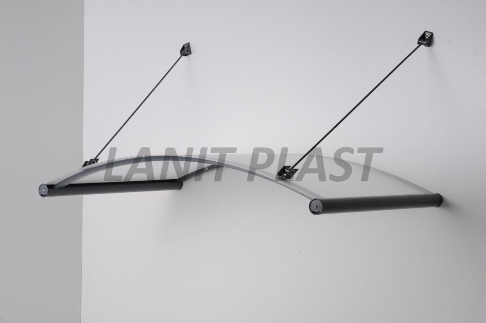 LanitPlast vchodová stříška AGAT 150 šířka 1500 mm, ocelově šedá