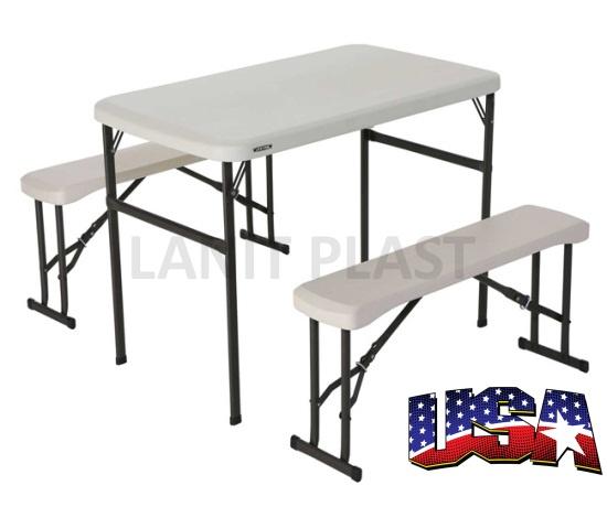 campingový stůl + 2x lavice LIFETIME 80353