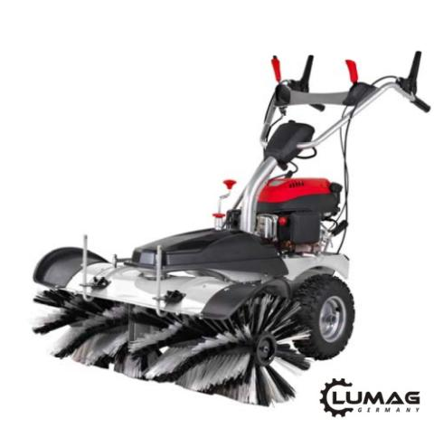 Motorový kartáč Lumag KM 1000 zdarma sněhová radlice + box na nečistoty