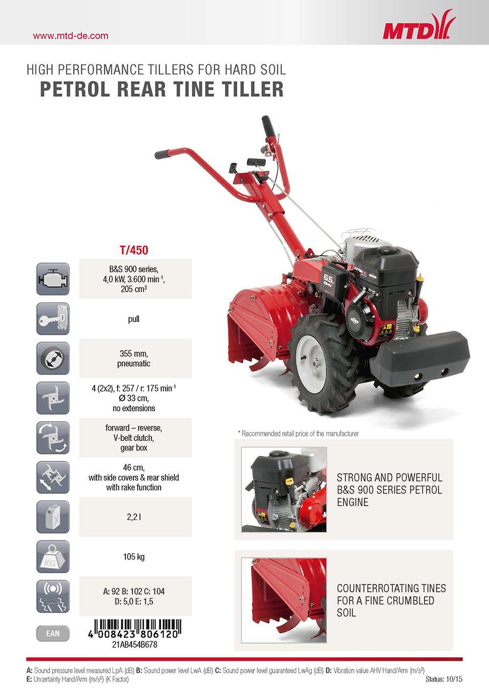 MTD T/450 - benzínový kultivátor