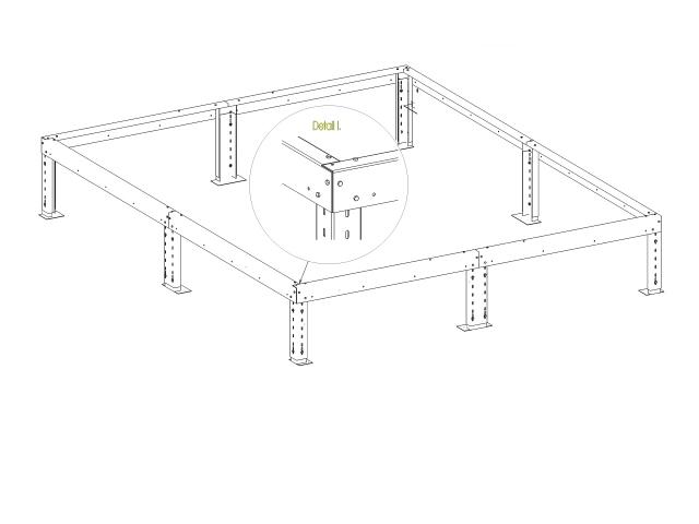 Podkladový rám s piloty pro skleník Variant J3, K3, L3
