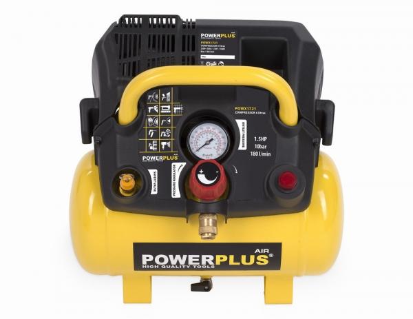 POWX1721 - Kompresor 1 100 W / 6 L - bezolejový