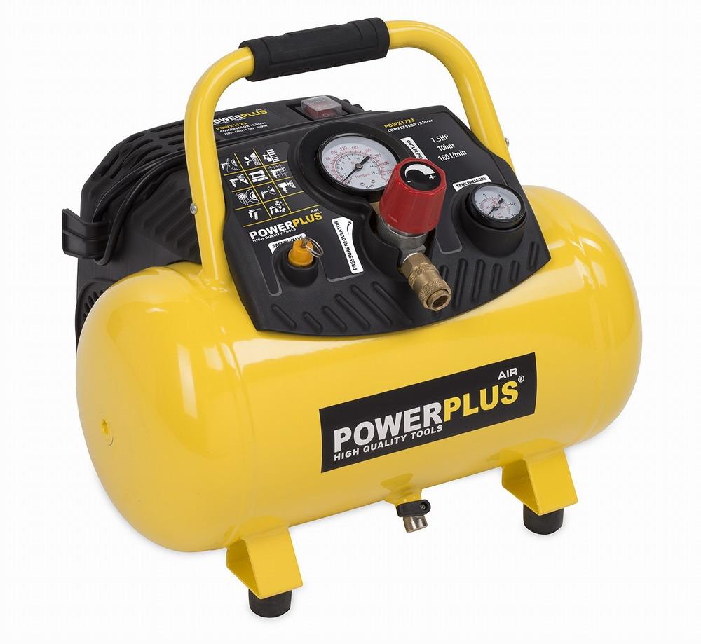 POWX1723 - Kompresor 1100W 12L 10bar bezolejový