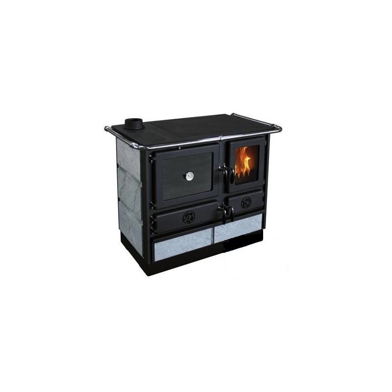 Sporák na tuhá paliva MBS MAGNUM PLUS černý s mastkovým obkladem - levý
