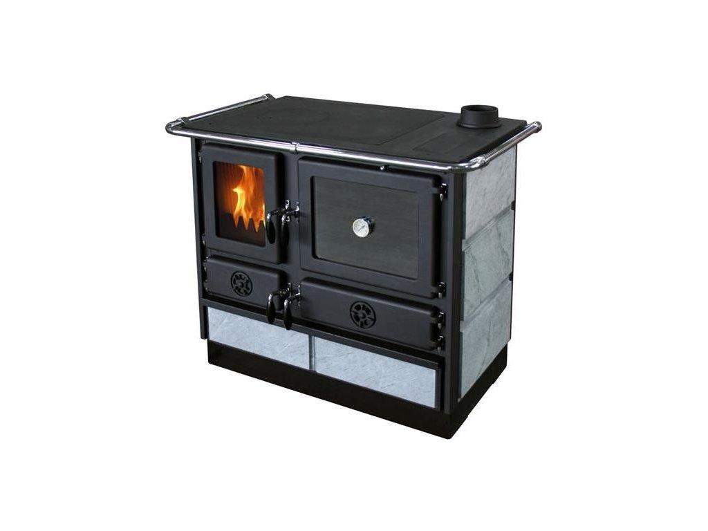 Sporák na tuhá paliva s výměníkem MBS THERMO MAGNUM PLUS černý s mastkovým obkladem - pravý