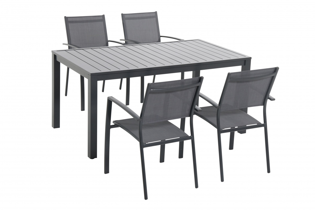 Vital 4+ - sestava nábytku z hliníku (1x stůl Vital 150 + 4x stohovatelná židle Clara)