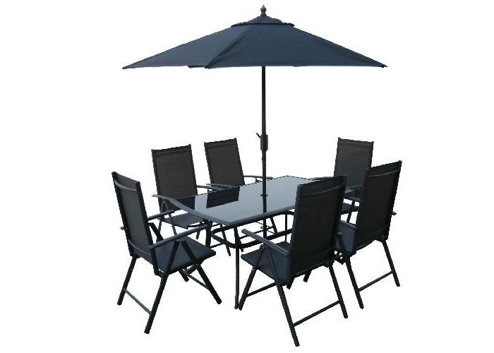 Zahradní nábytek SUNSET stůl + 6 židlí + slunečník zdarma